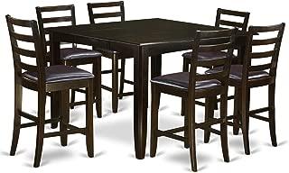 East West Furniture FAIR7-CAP-LC 7-Piece Pub Table Set, Faux Leather Seat, Cappuccino Finish