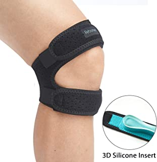 Patella Knee Strap, Rebomer Adjustable Knee Brace (3D Silicone Insert) for Men & Women, Knee Joint Pain Prevention & Relief & Patella Stabilizer Support for Running, Riding, football, Weightlifting.