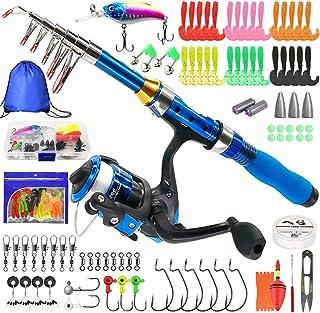 میله ماهیگیری بچه گانه Kilitn ، قطب ماهیگیری تلسکوپی قابل حمل و دسته های ترکیبی و رشته ای با کیت های کامل خط ماهیگیری ، چرخ دنده ماهیگیری قطب ماهیگیری برای کودکان ، پسران ، دختران و بزرگسالان