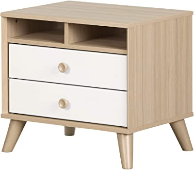 South Shore Yodi 2-Drawer Nightstand-Soft Elm and Pure White