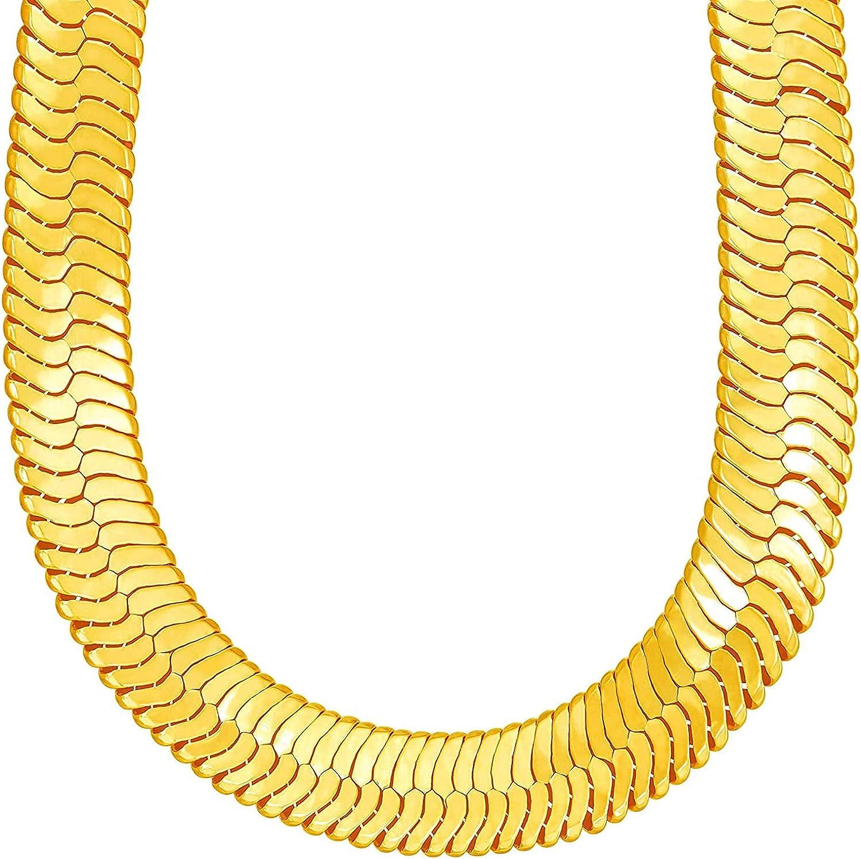 TUOKAY Big Heavy Fake Memphis Mall Gold Herringbone 31 Inch Las Vegas Mall T Chain 12mm Long