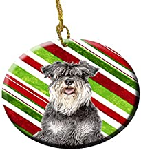 Candy Cane Holiday Christmas Schnauzer Ceramic Ornament KJ1171CO1