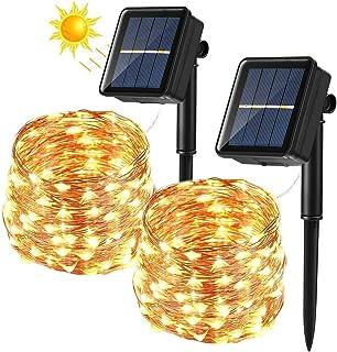 BrizLabs Cadena Luces Solares 2 Paquete 12m 120 LED Guirnalda Luces Solares Exterior Impermeable Iluminación Alambre de Cobre para DIY Navidad Jardín Ventana Valla Boda Decoración, Blanco Cálido