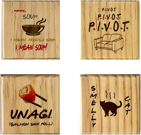 Friends Coasters By Brindle Southern Smelly Cat Unagi Pivot Mmm Soup Wooden Coaster Set