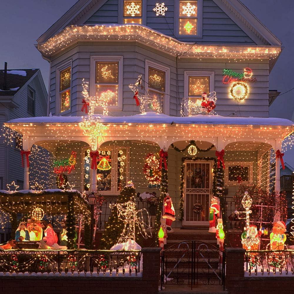 Wohnzimmer Garten Terrasse 6X3M Large Size 600 LEDs Weihnachtslichtvorhang IP44 Wasserdichte Weihnachtsbeleuchtung Au/ßenwasserfall Lichtvorhang mit 8 Lichtprogrammen f/ür Innen und Au/ßen Balkon