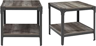 WE Furniture Rustic Farmhouse Square Wood Side End Accent Table Living Room, Set Of 2, Grey