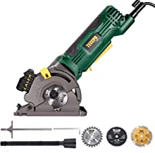 """Circular Saw with Laser Guide, TECCPO Compact Mini Circular Saw, 3 Saw Blades, Scale Ruler and 4Amp Pure Copper Motor, 3-1/3"""" 3500RPM, Suitable for Wood, Tile, Aluminum and Plastic Cuts - TAPS22P"""
