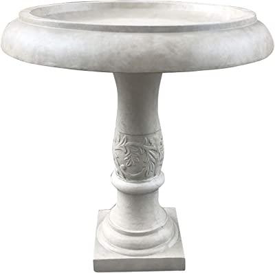 Kante RC01098A-C80091 Lightweight Traditional Flower Diamond Pattern Birdbath, Weathered Concrete