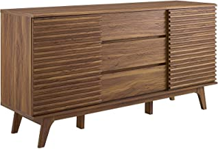 """Modway Render 63"""" Mid-Century Modern Sideboard Buffet Table or TV Stand in Walnut"""