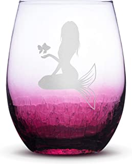 Integrity Bottles Premium Mermaid #5 Stemless Wine Glass, Crackle Raspberry, Handblown, Holding Fish, Hand Etched Gifts, Sand Carved