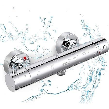 BONADE Duschthermostat Duscharmatur Sicherheitssperre bei 38/°C Thermostatarmatur Dusche Thermostat Brausebatterie aus Messing Thermostatbatterie Mischbatterie Aufputz f/ür Bad