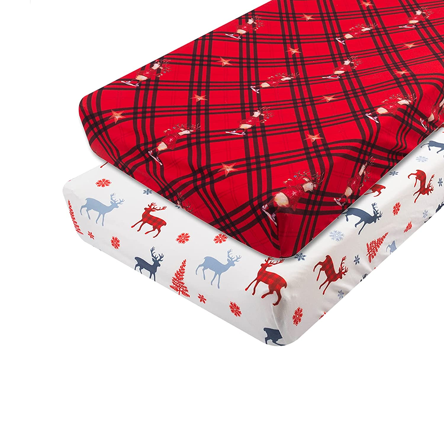 ALVABABY Christmas Stretchy Changing Pad Pack Nashville-Davidson Mall Covers half 2 Bassinet