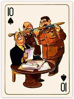 Portrait Caricature Stalin Roosevelt Churchill War USA UK USSR Poster Print