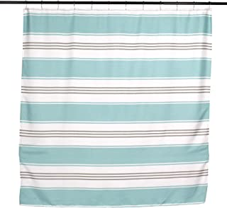 Hampton Collection Fabric Shower Curtain: Contemporary Alternating Wide and Thin Stripe Design (Turquoise Aqua)