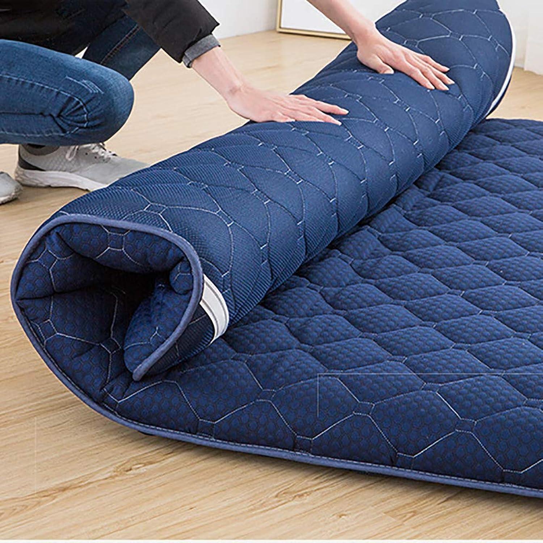Hxxxy Japanisches Tatami Boden Matte,Verdickte japanischen futon matratzenauflage schlafen pad Faltbare dicken zusammenklappbar Portable-Blau 180x200cm(71x79inch)