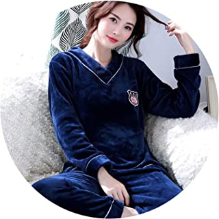 Winter Pajama Sets Warm Flannel Couple Pyjamas V-Neck Thick Coral Velvet Suit Long Sleeve
