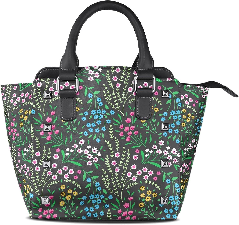 My Little Nest Women's Top Handle Satchel Handbag Cute Small Flower Ladies PU Leather Shoulder Bag Crossbody Bag