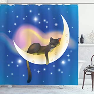 (180cm W By 180cm L, Multi 10) - Cat Shower Curtain by Ambesonne, Cat Sleeping on Crescent Moon Stars Night Sweet Dreams T...