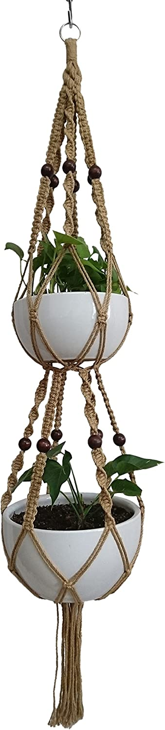 6 Legs Macrame Plant Hanger free Max 56% OFF shipping Pla Double Jute Tiers