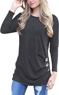 VESNIBA Women's Tops Solid Shirt Long Sleeve Botton Blouse Casual O Neck Tops