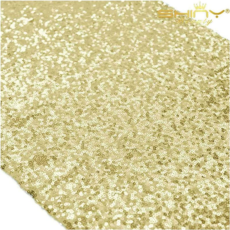 14x108 Inch Light Gold Table Runners Pack Of 12 Champagne Gold Sequin Table Runner 108 Sequeen Table Runnes 0910E