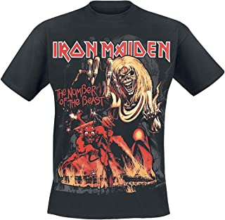Iron Maiden Number of The Beast Graphic Hombre Camiseta Negro, Regular