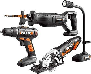 WORX WX943L 20V Cordles Drill Driver WX101L, 20V Lithium Circular Worxsaw WX523L, 20V Cordless Reciprocating Saw WX500L and 20V Flexible LED light WX028L Combo Kit
