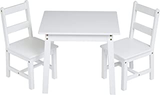AmazonBasics Kids Solid Wood Table and 2 Chair Set, White
