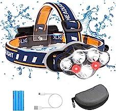 7 LED Stirnlampe mit Batterien, wasserdichter Kopflampe USB Stirnlampe wiederaufladbar,18000 Lumen 7 LED 8 Modi Kopflampe ...