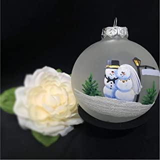 Wedding Ornament for your First Christmas Married Hand painted on Frosted glass ornament, Christmas, Engagement, wedding gift, Personalized with your wedding date and/or names