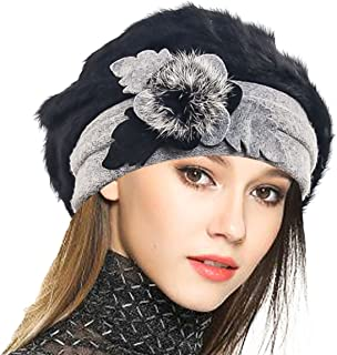 Women's Wool Dress Church Cloche Hat Bucket Winter Floral Hat