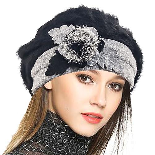 134236da382 Women s Wool Dress Church Cloche Hat Bucket Winter Floral Hat