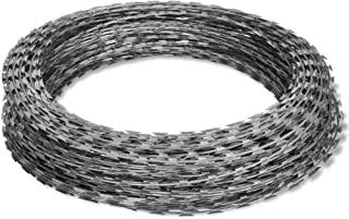 Tidyard Razor Wire Galvanized Barbed Wire, Outdoor Razor Wire Helical Wire Roll, Decorative Fences Galvanized Steel 328'