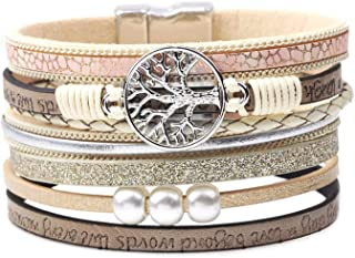 MallDou Jewelry Tree of Life Wrap Boho Leather Wide Cuff Handmade Wristbands Braided Magnetic Buckle Bangle Bracelet Gift for Women Girl