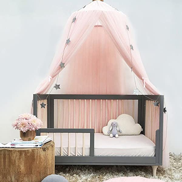 Jeteven Polyester Dome Princess Bed Canopy Kids Play Tent Mosquito Net With Crown For Baby Kids Indoor Outdoor Playing Reading Height 240cm 94 5in Pink