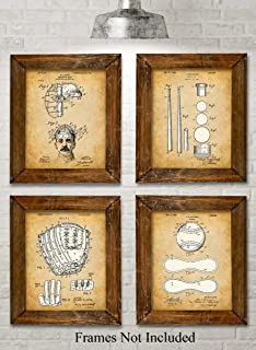 Original Baseball Patent Art Prints - Set of Four Photos (8x10) Unframed - Makes a Great Gift Under $20 for Baseball Players or Boy's Room Decor