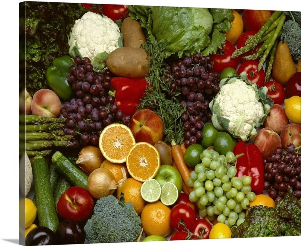 Produce Spread of Mixed Fruits and Wall Food Classic Cheap SALE Start Print Canvas Art