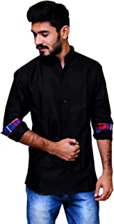 REBANTA Mens Casual Black Shirt Mandarin Collar