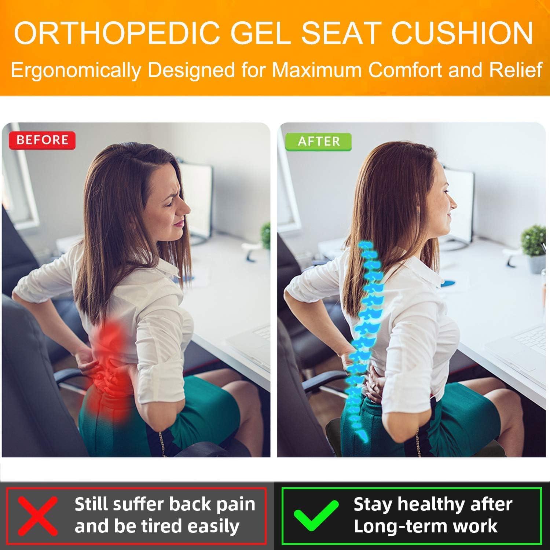 Sciatica /& Back Pain Relief Office Chair Car Seat Cushion Helishy Gel Seat Cushion Green Non-Slip Orthopedic Gel Coccyx Cushion for Tailbone Pain