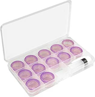 12 Grids Mini Contact Lens Case Travel Kit with 1 Tweezers and Solution Bottle (Purple)