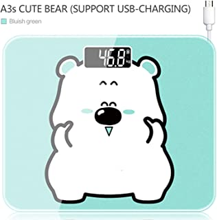 SHILINWEI A3s USB Charging Scales LCD Digital Display Weight Weighing Floor Electronic Smart Balance Body Household Bathrooms 180KG,Bluish Green