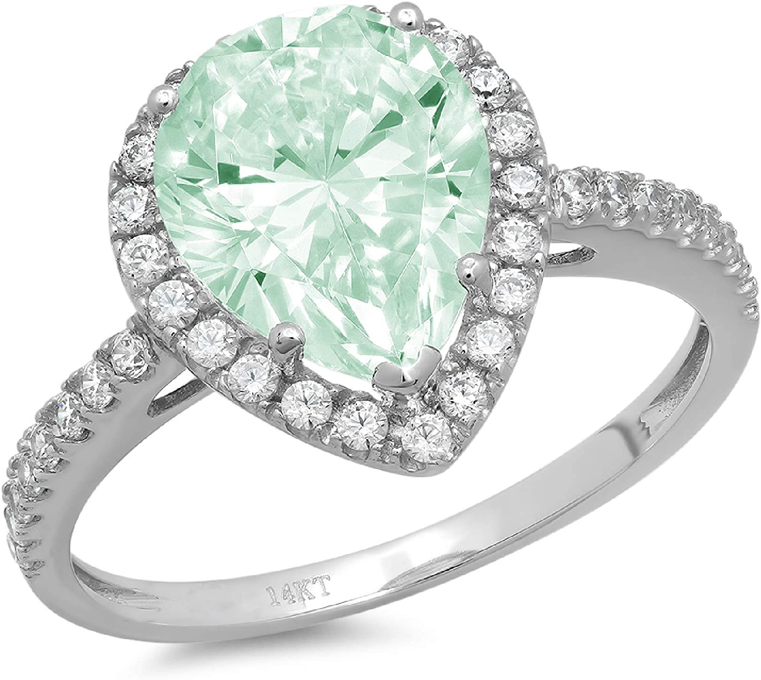 2.42ct Brilliant Pear Cut Solitaire with Accent Halo Light Sea Green Simulated Diamond CZ VVS1 Designer Modern Statement Ring Real Solid 14k White Gold Clara Pucci