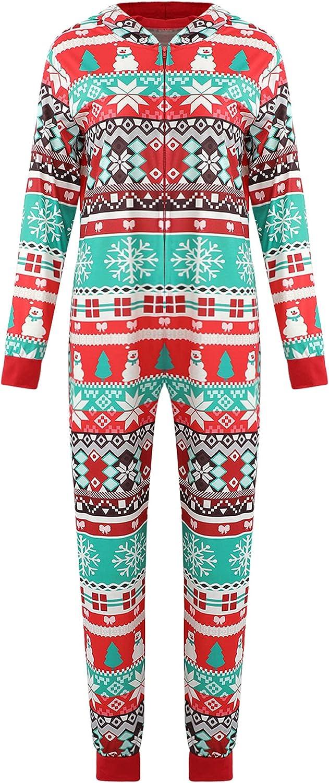 Family Matching Christmas Hooded Jumpsuit Set with Cartoon Print, One Piece Elasticated Closure Zip up Xmas Sleepwear Set