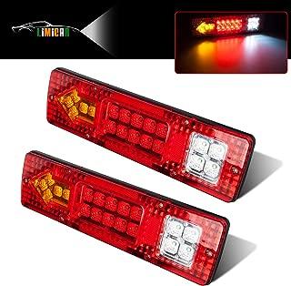 LIMICAR 19 LED Red Amber White Integrated Trailer Tail Lights Bar 12V Turn Signal Running Lamp for Trailer UTV UTE RV ATV Truck 2PCS
