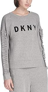 DKNY Sport Women's Ruffled-Sleeve Logo T-Shirt, Heather Grey, Medium