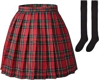 Elibelle Women's Adjustable Waisted Pleated School Uniform Skirt with 2 Pairs Socks