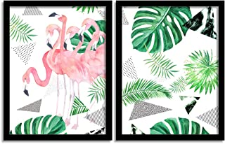 Painting Mantra Set of 2 Tropical Flamingo Matte Art Print, Painting for Home Décor,Paintings with Frame for Living Room(1...
