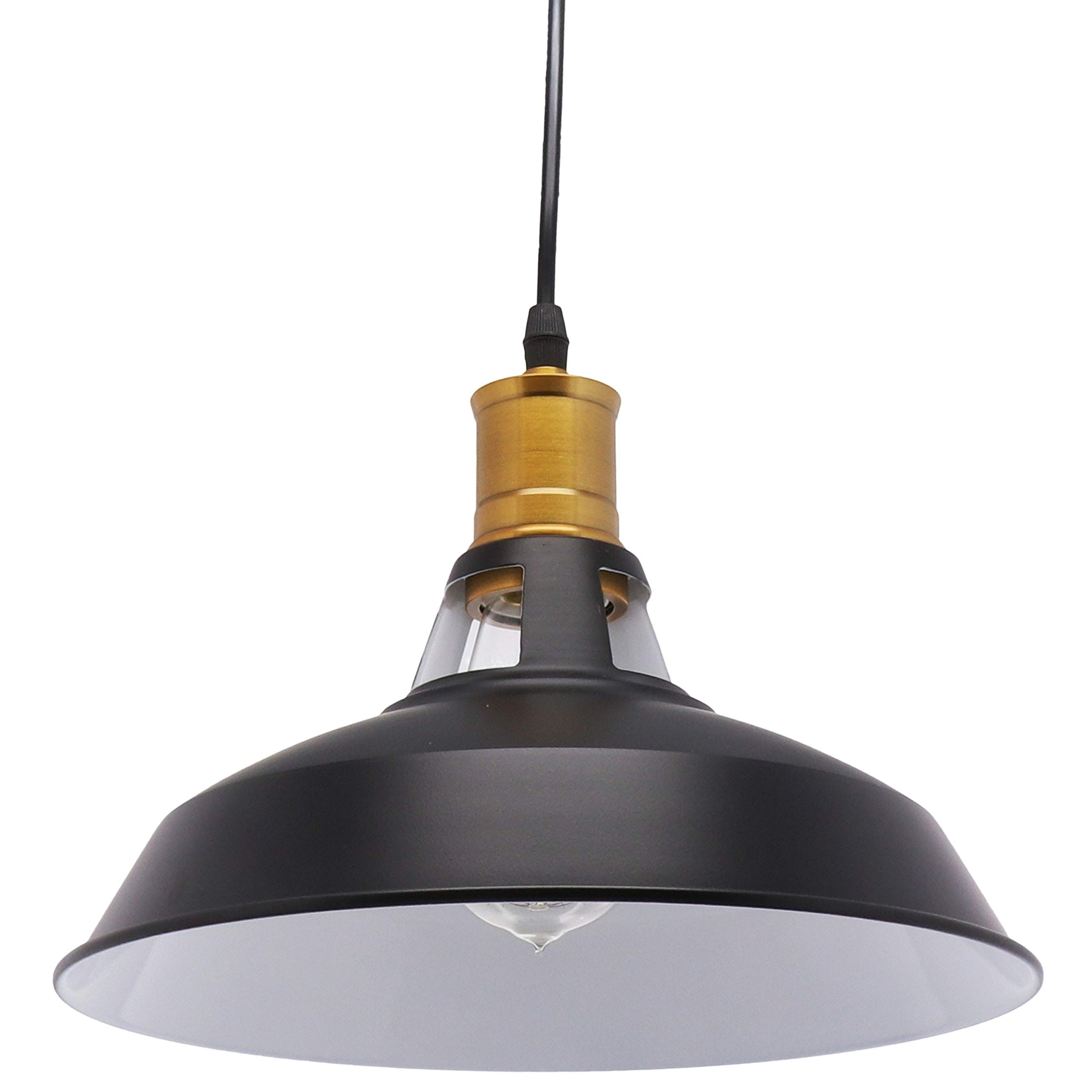 Barnyard Designs 谷仓吊灯现代工业农舍悬挂灯具,黑色 20.32 厘米线哑光面谷仓灯罩,黄铜插座
