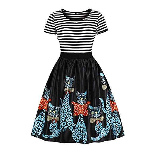 6875904211c4 Wellwits Women's Crew Neck Sailor Striped Print Tea Party Vintage Swing  Dress
