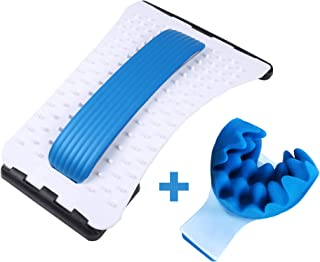 Back Stretcher Massager Acupuncture Device Relieves Back Pain, Chair Lumbar Support PLUS Neck Stretcher Relieves Neck Shoulder Pain, Aid Relaxation, Muscle Pain Relief, Cervical Spine Alignment